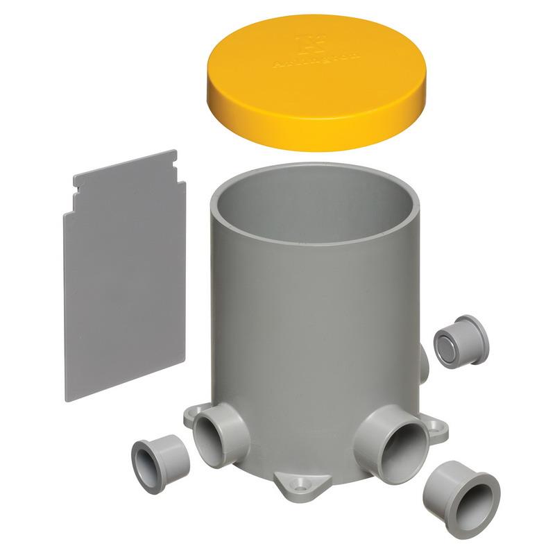 Arlington FLBC4500 Round Floor Box; 5.95 Inch Diameter x 4.937 Inch Width x 3.933 Inch Depth, Non-Metallic