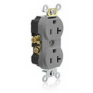 Leviton TCR20-GY Tamper Resistant Straight Blade Duplex Receptacle; 2-Pole, 3-Wire, 20 Amp, 125 Volt, NEMA 5-20R NEMA, Thermoplastic Face and Body