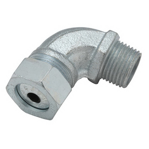 Hubbell Electrical / RACO 3792-2 90 Degree Strain Relief Cord Connector 1/2 Inch  NPT  Steel/Malleable Iron  Electro-Plated Zinc