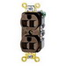 Hubbell Wiring HBL5242 HBL® Straight Blade Duplex Receptacle; 15 Amp, 125 Volt, 2-Pole, 3-Wire, Flush, Screw Mount, Brown