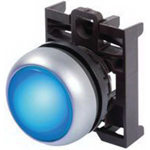 Eaton / Cutler Hammer M22-DL-B Illuminated Pushbutton; Momentary, Flush Actuator, Blue Button, Silver Bezel