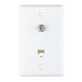 Cooper Wiring 3535-4W MediaSync™ Telephone and Coaxial Jack; Flush/Box Mount, Thermoplastic, White