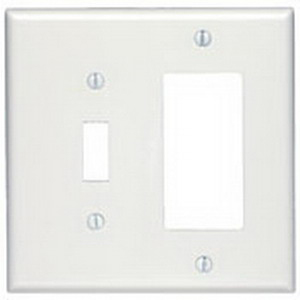 Leviton 80605-T Decora® 2-Gang Combination Wallplate; (1) Toggle, (1) Decora/GFCI, Device Mount, Thermoset, Light Almond