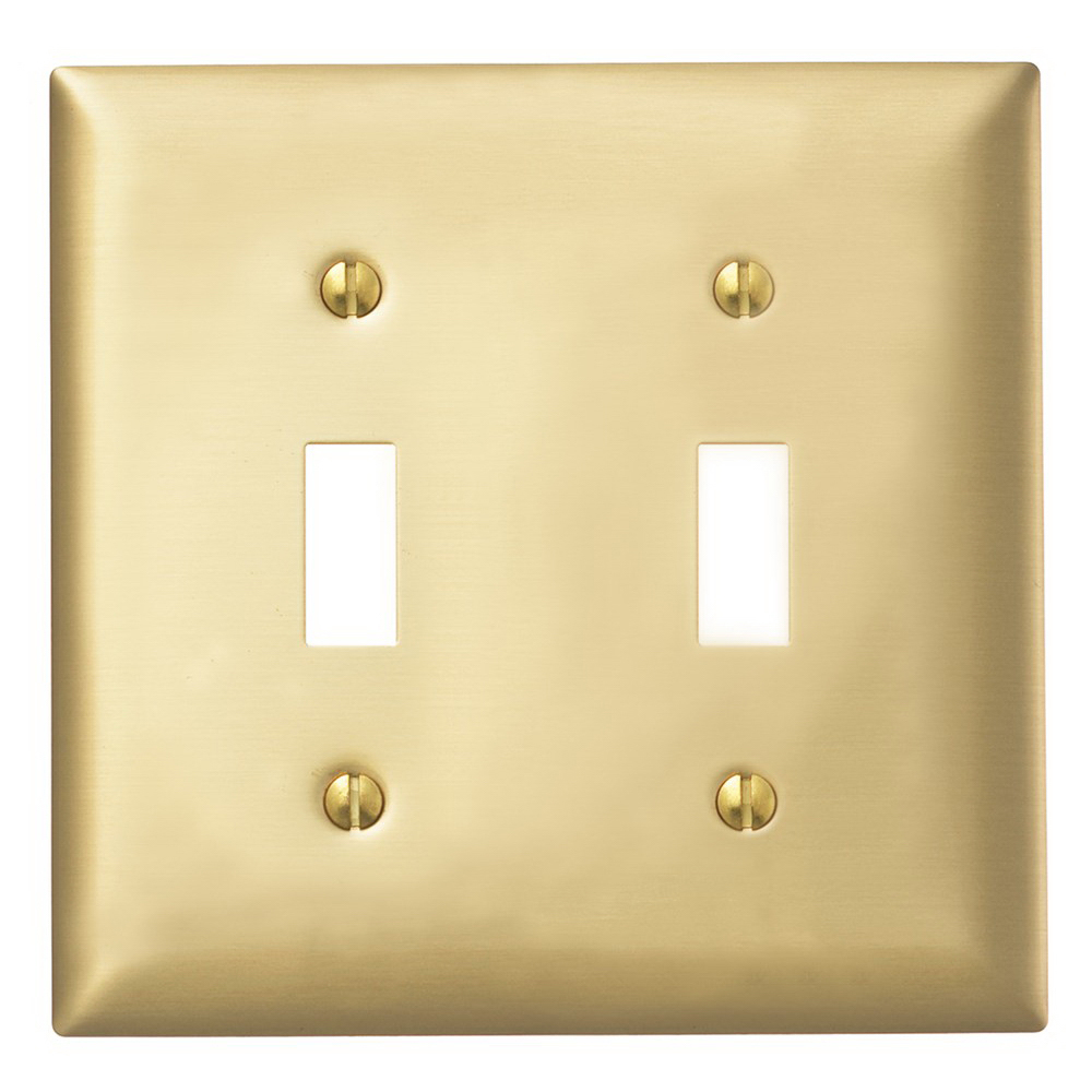 Hubbell Wiring SB2 Bryant® 2-Gang Toggle Switch Wallplate; Screw Mount, Brass, Matte, Brass