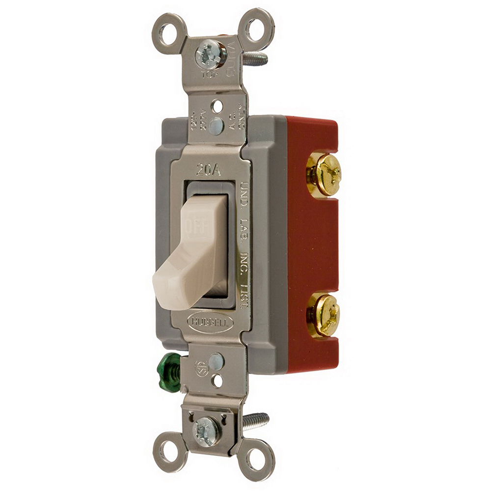 Hubbell Wiring CS1221LAU AC Toggle Switches 1-Way Toggle Switch 120/277 Volt AC  20 Amp  Light Almond