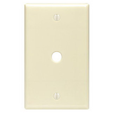 Leviton 80513-T 1-Gang Telephone/Cable Wallplate; Box Mount, Thermoset, Smooth, Light Almond