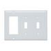 Pass & Seymour SP226-W 3-Gang Combination Wallplate; (2) Toggle Switch, (1) Decorator, Screw Mount, Thermoset Plastic, Smooth, White