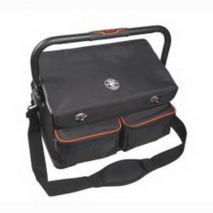 Klein Tools 55432 tradesman Pro™ Tool Tote With Cover; 17 Pockets, Polyester, Black/Orange