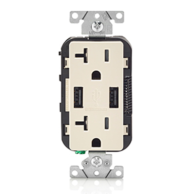 Leviton T5832-I Decora® Combination Duplex Receptacle and USB Charger; 125 Volt AC Receptacle, 20 Amp, Grounding, Wallplate Mount, Ivory