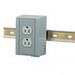 Hubbell Wiring DRUBGFI20 Duplex Receptacle; 2-Pole, 3-Wire, 20 Amp, 125 Volt, NEMA 5-20R NEMA, Vertical, DIN Rail Mount, Gray