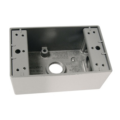 Pass & Seymour WPB23 1-Gang Weatherproof Box; Aluminum, Gray, 18.5 Cubic-Inch