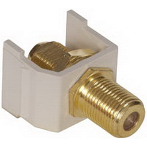 Hubbell Premise SFFGOW iSTATION™ Audio Video Connector; Snap-On- Snap-Fit Mount, Brass, Office White, Gold-plated
