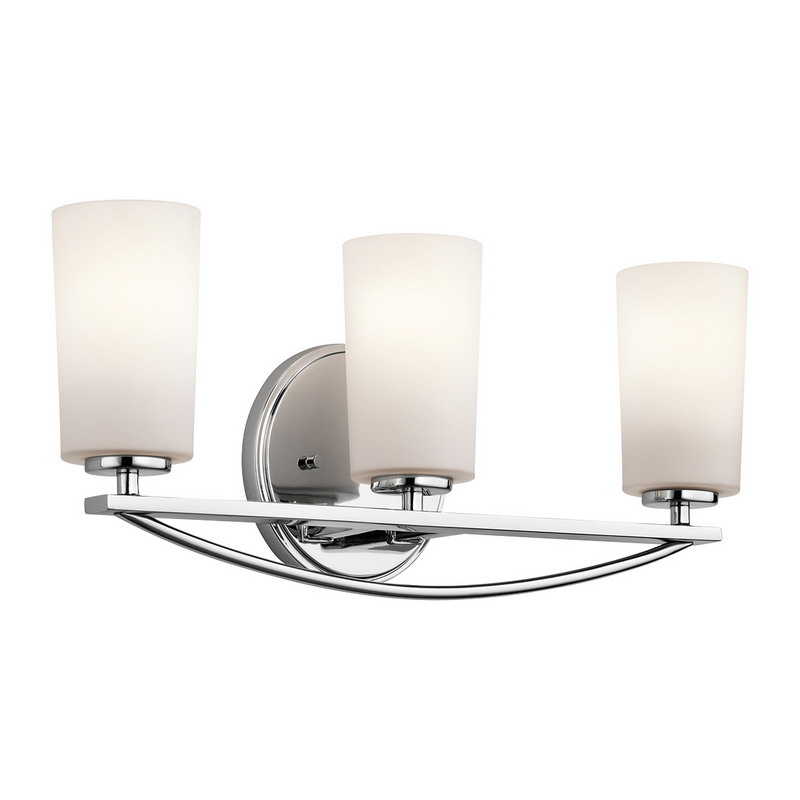 kichler 45061ch rousseau collection 3 light wall mount incandescent bathroom lighting fixture 100 watt chrome