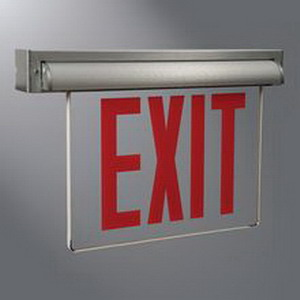 Cooper Lighting AUXSSD Edge-Lit LED Self-Powered AUXS Series Exit Sign; 0.9 Watt At 120 Volt, 1.1 Watt At 277 Volt, 120/277 Volt AC, Sealed Nickel Cadmium, Aluminum