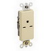 Leviton 16651-I Decora Plus™ Straight Blade Single Receptacle; 2-Pole, 3-Wire, 15 Amp, 250 Volt, NEMA 6-15R, Wall Box Mount, Self-Grounding, Ivory