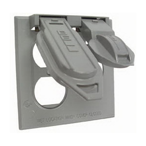Hubbell Electrical / RACO 5160-0 2-Gang Weatherproof Device Box Cover 1 Inch Depth  Die-Cast  Gray  Vertical Mount