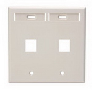 Leviton 42080-2TP QuickPort® Wallplate With ID Windows; Flush Mount, 2-Gang, Plastic, Light Almond, 2-Port