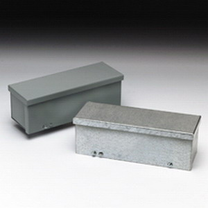 Cooper B-Line 8824GRT AM1 Z50 Straight Section Wiring Trough; 16 Gauge Galvanized Steel, ANSI 61 Gray