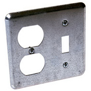 Hubbell Electrical / RACO 872 2-Gang Device Switch Box Cover 1 Toggle  1 Duplex  Box Mount  Galvanized Steel  Unpainted  Gray