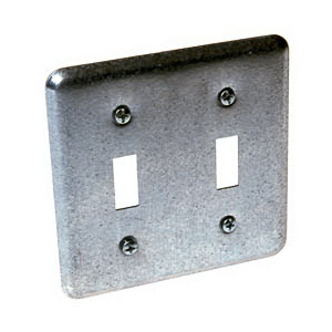 Hubbell Electrical / RACO 871 2-Gang Device Switch Box Cover; Box Mount, Galvanized Steel, Unpainted