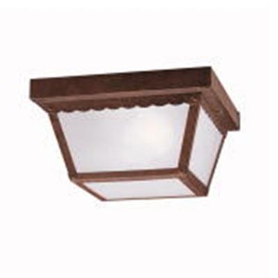 Kichler 345TZ Outdoor Miscellaneous Collection Utilitarian Flush Mount Ceiling Fixture; 60 Watt, 120 Volt, Tannery Bronze, Clear Textured Glass Shade Lens