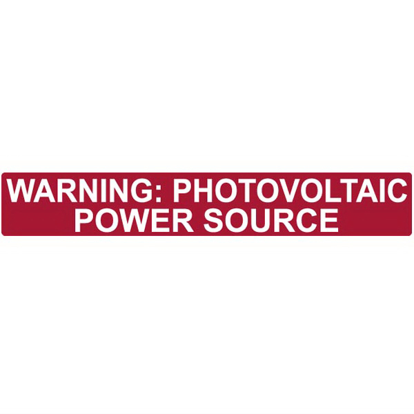 Hellermann Tyton 596-00206 Pre-Printed Solar Label 6.500 Inch Length x 6.500 Inch Width x 1 Inch Height- Reflective Vinyl With Acrylic Laminate-