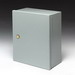 Cooper B-Line 16166-1 Panel Enclosure; 16 Gauge Steel, ANSI 61 Gray, Wall Mount, Continuous Hinged, Flush Coin Latch Cover