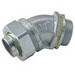 Hubbell Electrical / RACO 3442 45 Degree Liquidtight Connector; 1/2 Inch, NPT, Steel/Malleable Iron, Electro-Plated Zinc