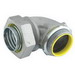 Hubbell Electrical / RACO 3546 90 Degree Liquidtight Connector; 1-1/2 Inch, NPT, Steel/Malleable Iron, Electro-Plated Zinc