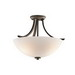 Kichler 42563OZ Granby Collection 3-Light Ceiling Mount Incandescent Semi Flush Light; 75 Watt, Olde Bronze, No