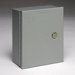 Cooper B-Line 664-1 Panel Enclosure; 16 Gauge Steel, ANSI 61 Gray, Wall Mount, Continuous Hinged, Flush Coin Latch Cover