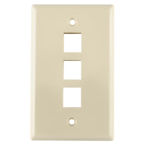 Hellermann Tyton FPTRIPLE-I Faceplate; Flush Mount, 1-Gang, Acrylonitrile Butadiene Styrene, Ivory, 3-Port