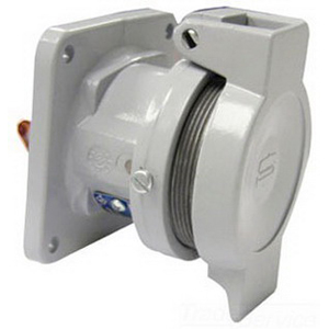 Cooper Crouse-Hinds CDR6033 PowerMate™ Style 1 Lockout Pin and Sleeve Receptacle; 60 Amp, 600 Volt AC/250 Volt DC, 3-Pole, 3-Wire