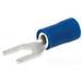 NSI S16-8V-L Miniterms Locking Spade Terminal; 16-14 AWG, #8 Stud, 300 Volt, Vinyl, Blue
