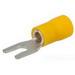 NSI S12-10V-L Miniterms Locking Spade Terminal; 12-10 AWG, #10 Stud, 300 Volt, Vinyl, Yellow