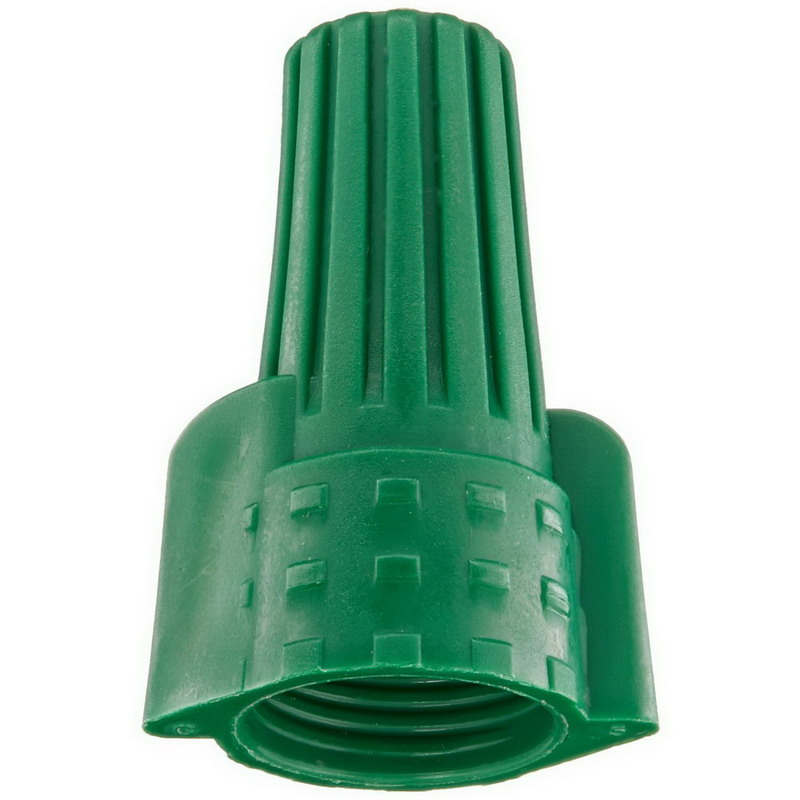 NSI WWC-GR-C Easy-Twist™ Grounding Winged Wire Connector Socket; 14-10 AWG, 300 - 600 Volt, Thermoplastic, Green, 100/Carton
