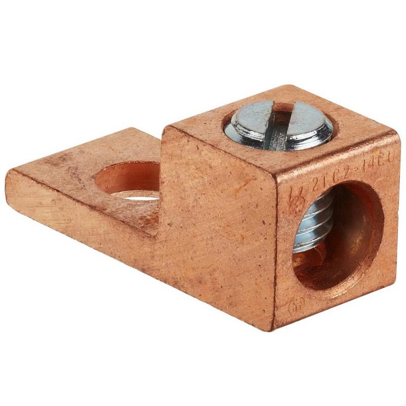 NSI 2TC Tubular Lug; 600 Volt, 1 Pole, 2-14 AWG, 1/4 Inch Bolt, Extruded Copper