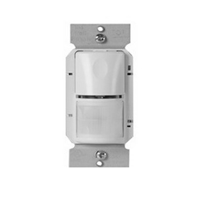 Watt Stopper WS-250-W Passive Infrared Wall Switch Occupancy Sensor; 120/277/347 Volt AC, 900 Sq ft, 525 Sq ft IR Range On Axis, Automatic On/Off, Manual Off, White, Strap Mount