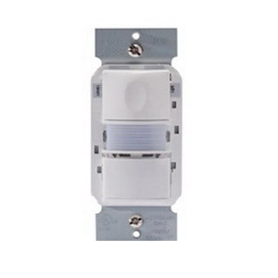Watt Stopper PW-103N-W Passive Infrared Multi-way Wall Switch Occupancy Sensor with Nightlight; 120/277 Volt AC, 525 Sq ft IR Range On Axis, Automatic On/Off, Manual On/Off, White, Strap Mount
