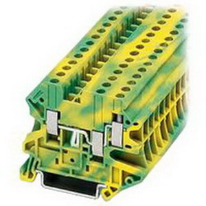 Eaton / Cutler Hammer XBUT10PE IEC-XB Series Single Level Ground Block; 10.2 mm Space, Screw Connection, Green/Yellow