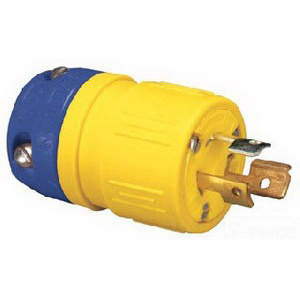 Ericson 1510-P Perma- Link Versatile Weather-Resistant Field Conversion Grounding Straight Blade Plug; 15 Amp, 125 Volt, 2-Pole, 3-Wire, NEMA 5-15P, Orange/Yellow