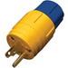 Ericson 1510-PW6P Perma-Tite2 Watertight Grounding Straight Blade Plug; 15 Amp, 125 Volt, 2-Pole, 3-Wire, NEMA 5-15P, Yellow/Blue