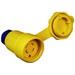 Ericson 2624-CW6P Perma-Tite Wet Guard Grounding Locking Blade Connector; 30 Amp, 480 Volt AC, 3-Pole, 4-Wire, NEMA L16-30, Safety Yellow