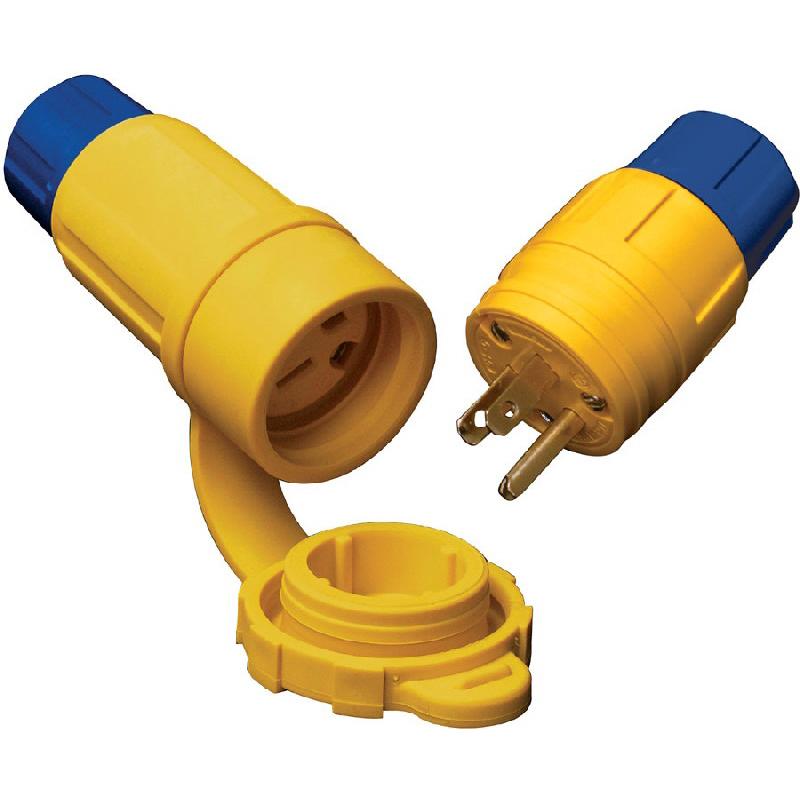 Ericson 2524-PW6P Perma-Tite Polarized Grounding Locking Plug; 30 Amp, 480 Volt, 3-Pole, 4-Wire, NEMA L16-30, Yellow/Blue