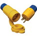 Ericson 2524-PW6P Perma-Tite Polarized Grounding Locking Plug; 30 Amp, 480 Volt, 3-Pole, 4-Wire, NEMA L16-30, Yellow/Blue