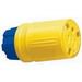 Ericson 1610-CG Perma-Tite Grounding Polarized Straight Blade Connector; 15 Amp, 125 Volt AC, 2-Pole, 3-Wire, NEMA 5-15R, Blue/Yellow