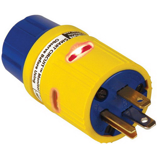 Ericson 1612-CMGL Perma-Grip Grounding Straight Blade Connector; 20 Amp, 125 Volt AC, 2-Pole, 3-Wire, NEMA 5-20R, Blue/Yellow