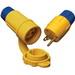 Ericson 1520-PW6P Perma-Tite Polarized Grounding Locking Plug; 15 Amp, 125 Volt, 2-Pole, 3-Wire, NEMA L5-15, Yellow/Blue