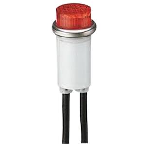 Ideal 777121 Indicator Light; Flush/Transparent Lens, 125 Volt AC, 1.3 Watt, 2 Milli-Amp, Neon, Red