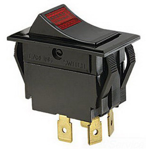 Ideal 774056 Full-Size Red Lighted Rocker Switch; 2-Pole, DPST, 125/250 Volt AC, 15/10 Amp, Red